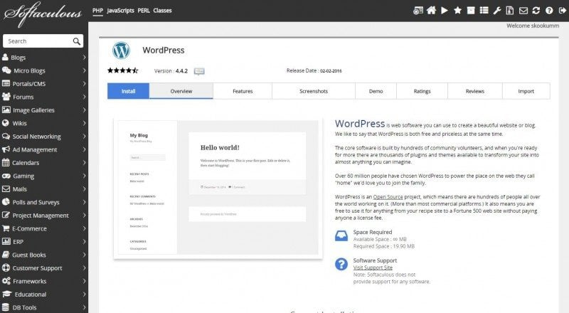 Installing WordPress via Softaculous