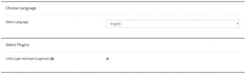 Softaculous Choose Language and Select Plugins