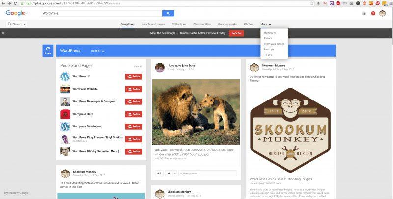 Classic Google+ Search