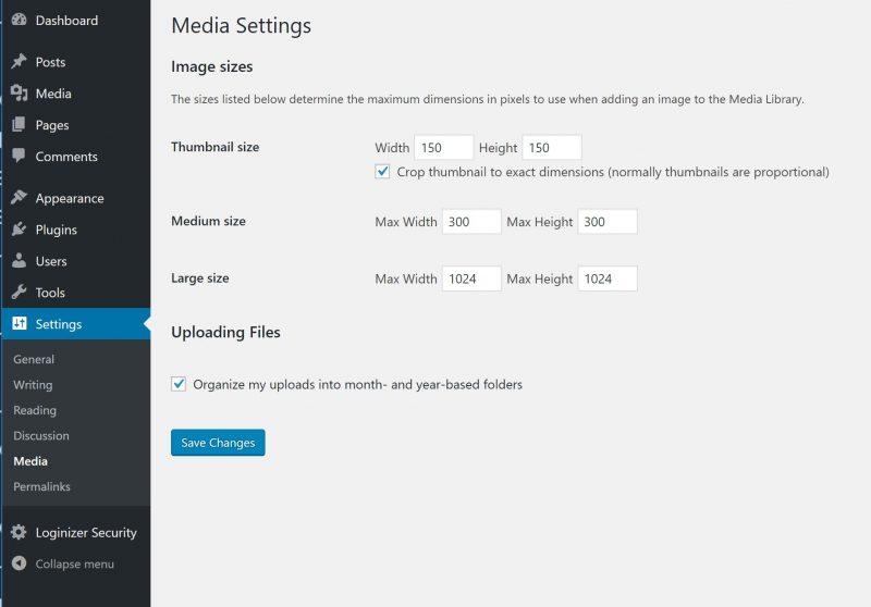 WordPress Media Settings